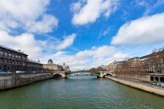 Seine river and Pont de Notre Dame in Paris Stock Photo