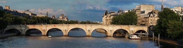 The Seine river and Pont Neuf New Bridge , Paris, France. Royalty Free Stock Image