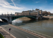 Seine river with pont notre dame Stock Image