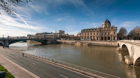 Seine river with pont notre dame and pont au change in Paris Royalty Free Stock Image