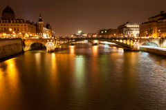 Night panorama of Seine river in Paris Royalty Free Stock Image