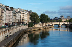 Seine river quay in Paris Royalty Free Stock Images