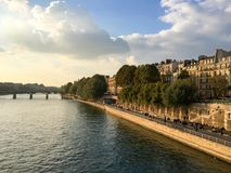 Seine river at the sunset, Paris. France Royalty Free Stock Images