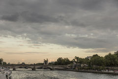Seine river at sunset Royalty Free Stock Image