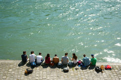 Chilling out by the Seine river Paris Royalty Free Stock Photography