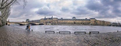 Seinet River och dess kust på en regnig dag Royaltyfria Foton