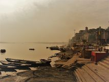 Seing the morning in Varanasi. Morning over the Ganges river in Varanasi, India Stock Photography