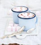 Seint华伦泰的假日问候集合 热巧克力和心形的蛋白软糖在老搪瓷杯子在白色陶瓷 库存照片