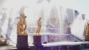 SEINT-PETERSBURG, RUSSIA - 11 MAGGIO 2019: Sculture dorate della cascata principale delle fontane in Peterhof, stock footage