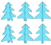 Seis árboles azules Ilustración del Vector