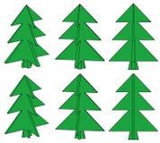 Seis árboles verdes Ilustración del Vector