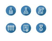 Seis ícones brancos do esboço no fundo azul arredondado Fotos de Stock Royalty Free