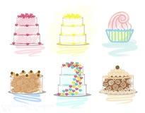 Seis ícones elegantes do bolo ilustração royalty free