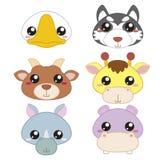 Seis cabeças bonitos do animal dos desenhos animados Imagem de Stock Royalty Free