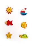 Seis ímãs bonitos do refrigerador Imagem de Stock Royalty Free