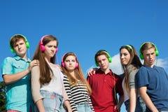 Seis adolescentes serios Imágenes de archivo libres de regalías