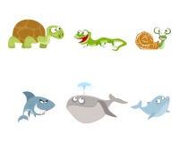 Seis animais ajustados Imagens de Stock