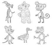 Seis animais engraçados Fotografia de Stock Royalty Free