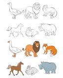 Seis animales fijados Imagen de archivo libre de regalías