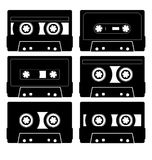 Seis audiocasettes 3 Imágenes de archivo libres de regalías