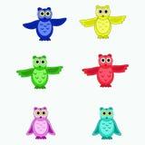 Seis búhos multicolores aislados stock de ilustración