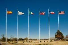 Seis bandeiras de Texas fotografia de stock