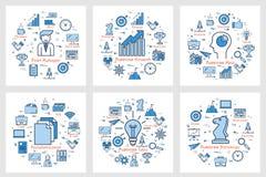 Seis banderas cuadradas del negocio - crecimiento, idea, encargado, estrategia, documentación libre illustration