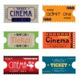 Seis bilhetes do cinema Foto de Stock