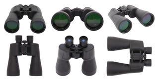 Seis binóculos pretos isolados no branco Imagem de Stock Royalty Free