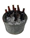 Seis blocos da cerveja na cubeta de gelo Fotografia de Stock