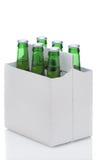 Seis blocos de frascos de cerveja verdes Imagem de Stock Royalty Free
