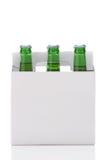 Seis blocos de frascos de cerveja verdes Imagens de Stock Royalty Free