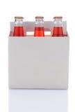 Seis blocos de frascos de soda da morango Fotografia de Stock