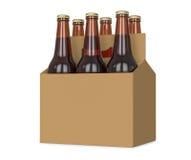 Seis blocos do vidro engarrafaram a cerveja na ilustração marrom genérica do portador 3d do cartão, isolada no fundo branco Imagens de Stock Royalty Free
