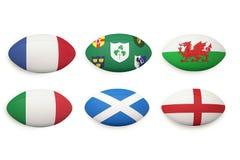 Seis bolas de rugbi de las naciones ilustración del vector