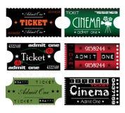 Seis boletos coloridos Imágenes de archivo libres de regalías