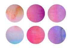 Seis círculos en colores pastel ligeros en acuarelas Imagen de archivo