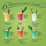 Seis cócteles y smoothies de las verduras frescas Imagen de archivo libre de regalías