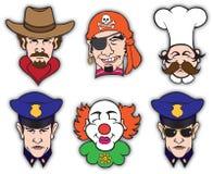 Seis cabeças ilustração royalty free