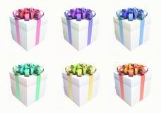 Seis caixas de presente em um fundo branco ilustração royalty free