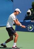 Seis campeones Novak Djokovic del Grand Slam de las épocas practican para el US Open 2014 Fotos de archivo