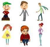 Seis caráteres engraçados Fotos de Stock Royalty Free