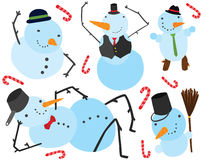 Seis caracteres de los muñecos de nieve de la Navidad Imagen de archivo libre de regalías