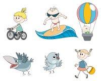 Seis caracteres del ` s de los niños ilustración del vector