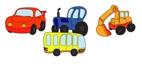 Seis carros e transportes coloridos dos desenhos animados projetados como etiquetas aparecem em branco filme
