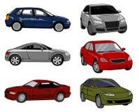 Seis carros em um fundo branco Fotografia de Stock