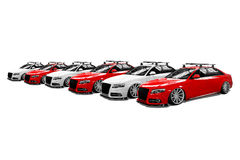 Seis carros modernos isolados coloridos Imagem de Stock