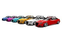 Seis carros modernos isolados coloridos Fotografia de Stock