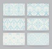 Seis cartões com testes padrões retros Imagens de Stock