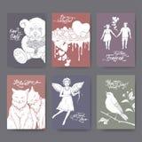 Seis cartões do Valentim do formato A4 com urso de peluche, bolo, gatos, cupido, menino e menina, pássaro do canto e rotulação da ilustração stock
